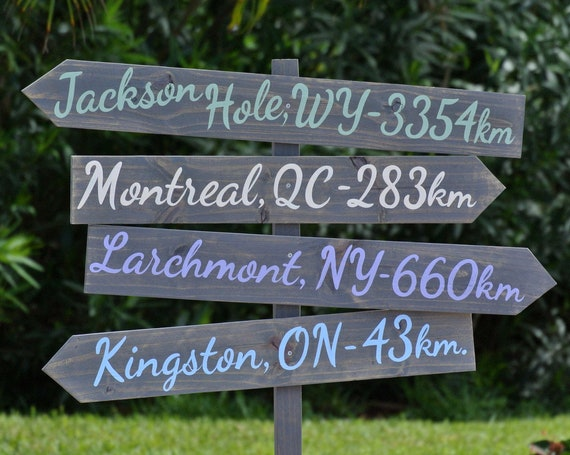 Directional sign post. Directions for home Family name sign. Rustic yard decor.