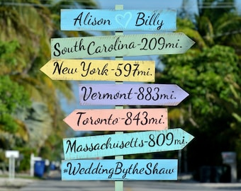 Newlywed Gift Directional sign Wedding Beach Decor. Welcome Wedding sign wood. Gift for couple.