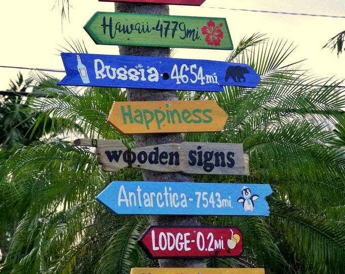 Direction wood Family Yard sign. Personalized gift for dad. New home Housewarming gift.