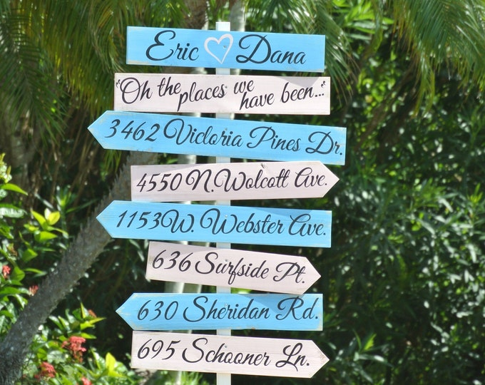 Holiday gift for couple, Destination wood sign. New home family gift. Yard decoration. Wood yard decor. Beach Nautical Wedding Sign.