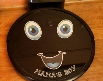 Decal sticker for robot vacuum cleaner or laptop. Happy Face Sticker