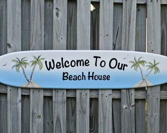 Welcome to Our Home sign / surfboard wall art. Beach House decor.