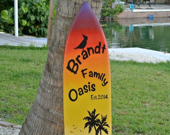 Gift for parents. Family Oasis Surfboard sign. Tiki Bar decor. Family New House gift. Tropical Wood Wall Decor. Its 5 O'clock somewhere.