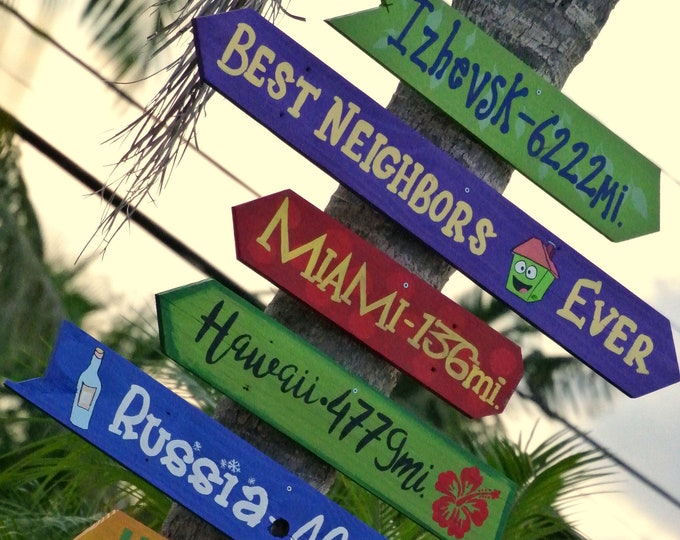 Destination mileage sign Yard directional arrow sign post. Housewarming Gift for Family. Garden decoration