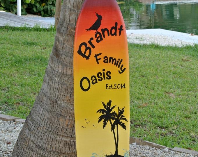 Family Oasis Surfboard sign. Tiki Bar decor. Family New House gift. Tropical Wood Wall Decor. Its 5 O'clock somewhere.