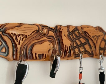 Safari Wood Key Holder for wall. Modern Home decor Entryway