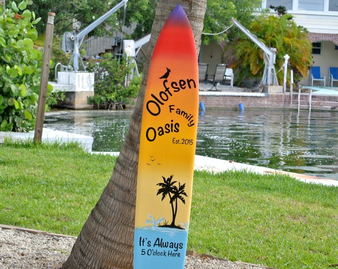 Family Oasis wood sign. Christmas gift Idea. Beach House wooden gift. Its 5 O'clock somewhere.