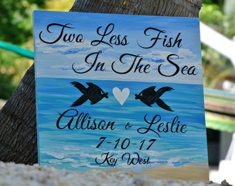 Two Less Fish In The Sea Wood Signage, Beach Wedding Decor Sign Gift for couple