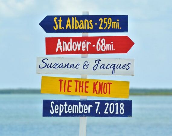 Tie The Knot wedding beach sign welcome, Tropical wedding decor, Wooden signage for ceremony. Destination wedding, Directional sign