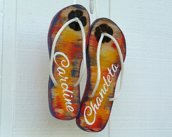 Wedding guest book wood flip flops sign Guestbook wooden board. Flip Flop wedding gift for couple