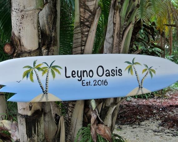 Home Bar decor Family Oasis. Surfboard wood sign. Beach House wall art