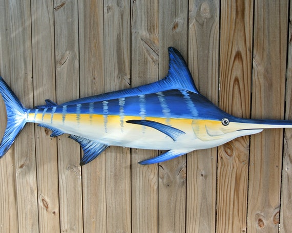 Large Blue Marlin Wood. Pool Deck decor. Fisherman gift for man.