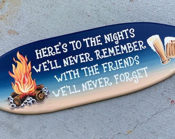 Fire pit area decor. Surfboard wall art. Wooden sign with beer. Gift for friends birthday man.