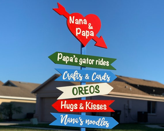 Direction sign with heart wood. Christmas gift for mom dad. Arrow sign wooden yard decor.