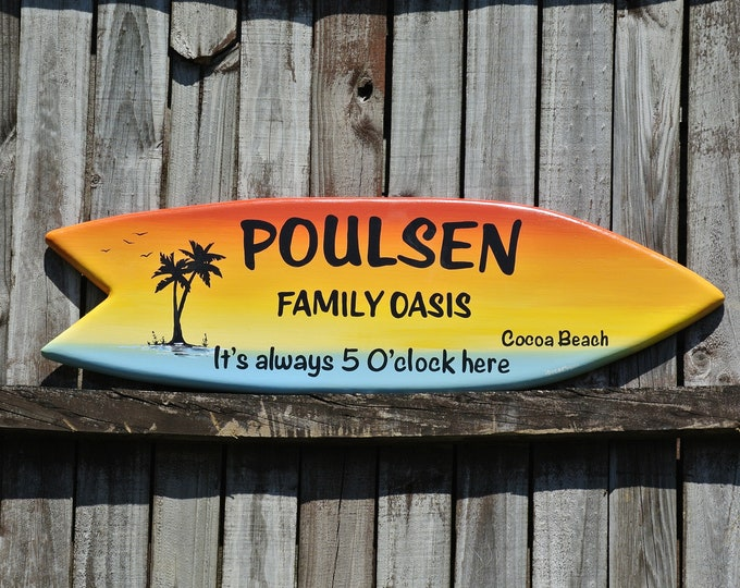 Patio Tiki Bar decor. Family sign wood. Surfboard wooden wall art.  gift for mom, dad