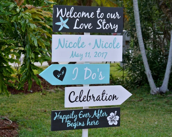 Wedding welcome sign. Welcome to our Love Story, Beach Wedding Decor, Happily Ever After Wedding Gift Idea