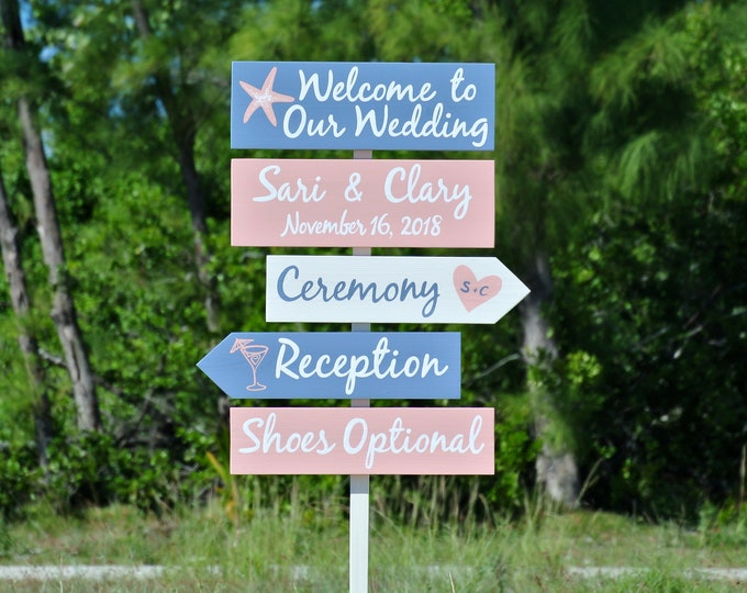 Welcome to Our wedding sign wood. Unplugged Coral wedding decor. Directional sign for ceremony.