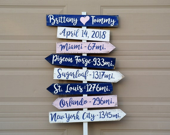 Navy blue Beach Wedding Sign Welcome, Tropical Decor Destination Wedding Gift. Directional yard sign