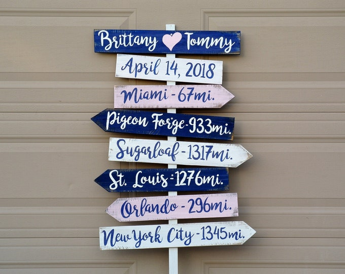 Navy blue Beach Wedding Sign Welcome, Tropical Decor Destination Wedding Gift. Directional yard sign