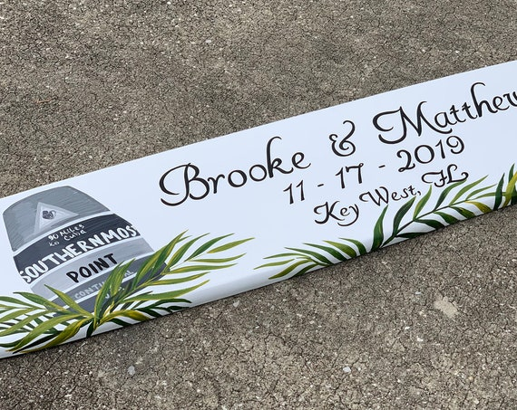 Tropical wedding sign. Beach wedding decor Surfboard wood. Gift for couple Christmas