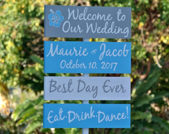 Wedding Welcome Sign, Hawaiian Beach Wedding Decor, Best Day Ever Directional Sign