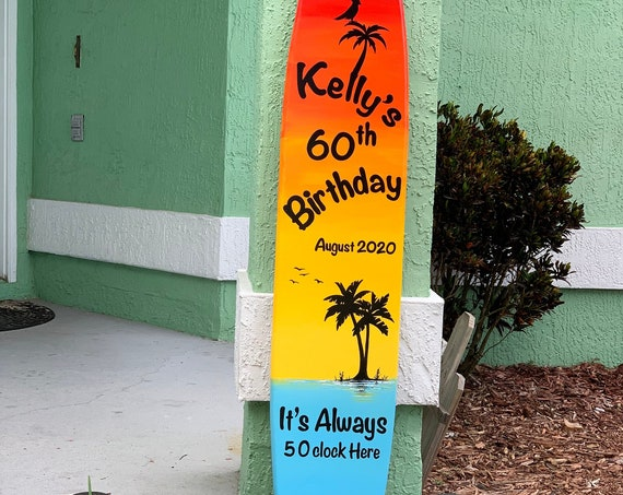 Birthday gift Surfboard wall art. Wooden Party decor. It's Always 5 O'clock here wood sign for bar.