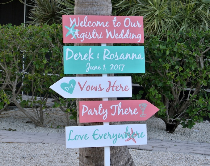 Welcome Wedding Sign Coral Tropical, Vows here, Party There, Love Everywhere wooden arrow directional sign. Wedding Gift For Couple