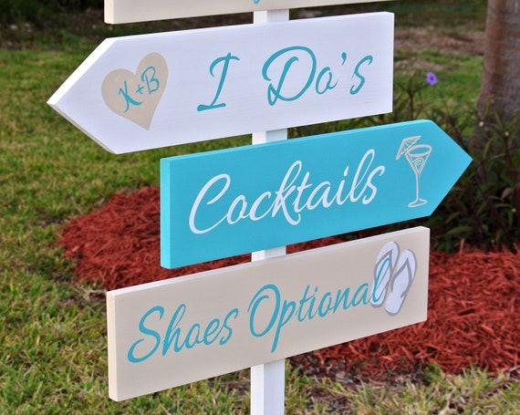 I Do Wedding Ceremony sign. Garden wedding decor. Shoes optional wood signpost