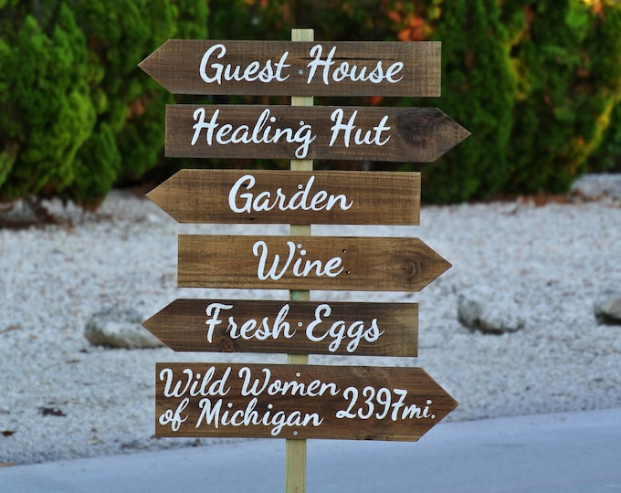 Family sign, Guest House Destination Signs, Wooden Hotel decor, Garden Beach sign post, Unique gift idea, Wood yard decor
