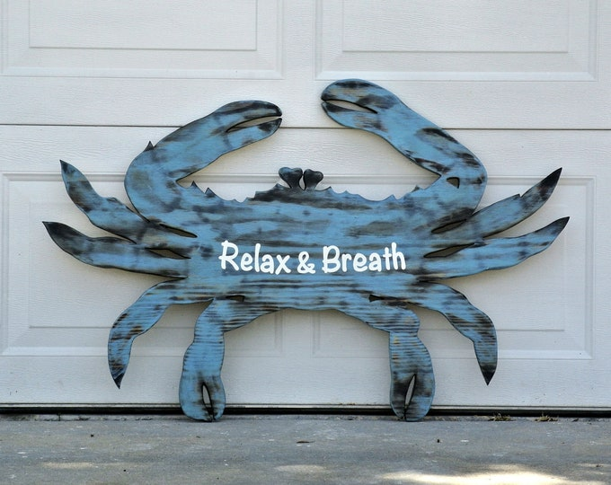 Blue Crab wall art. Relax Beach House decor.