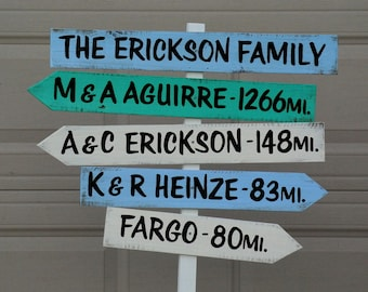 Gift for mom, Rustic Mileage Garden Decorative Sign Post, Yard wood sign, Family unique gift idea. Wood yard decor
