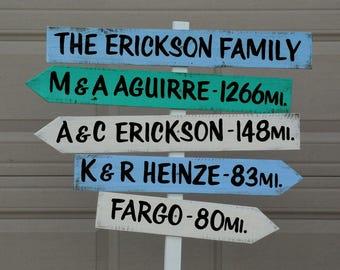Family Destination Sign, Rustic Mileage Garden Decorative Sign Post, Yard wood sign, Family unique gift idea.