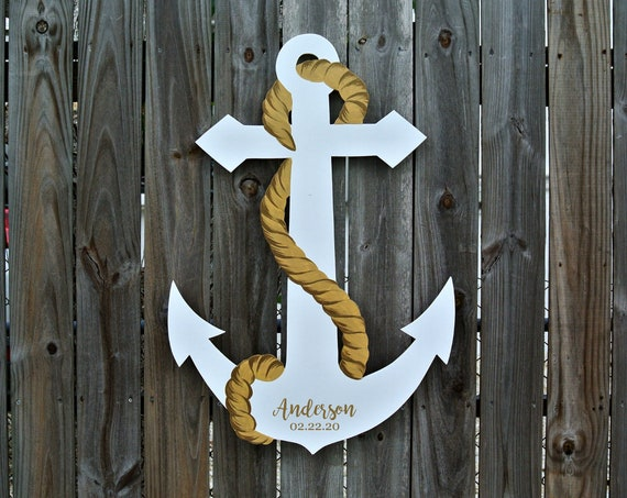 Newlywed Christmas Gift Wedding Guest Book wood sign Anchor white with gold rope.