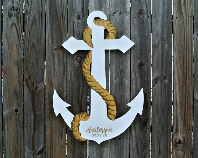 Newlywed  Gift Wedding Guest Book wood sign Anchor white with gold rope.