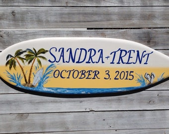 Palm tree Wedding sign personalized. Tropical wedding decor. Gift for couple. Surfboard Wood Sign