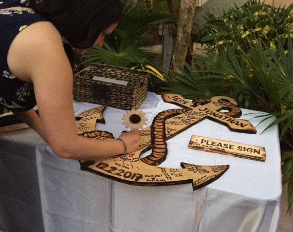 Anchor wedding guest book wood sign. Guestbook alternative. Gift for couple