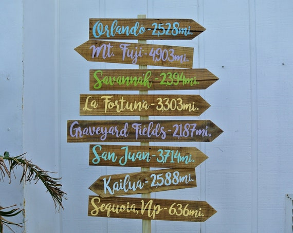 Directional Wood Family sign, Destination Mileage Sign post, Gift for parents.