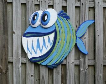Angler Fish Wall Art, 3D layered Fish Wood sign Modern Decor.