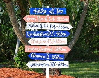 Navy Blue and White Wedding sign wood decor. Beach Directional sign for ceremony. Family destination sign