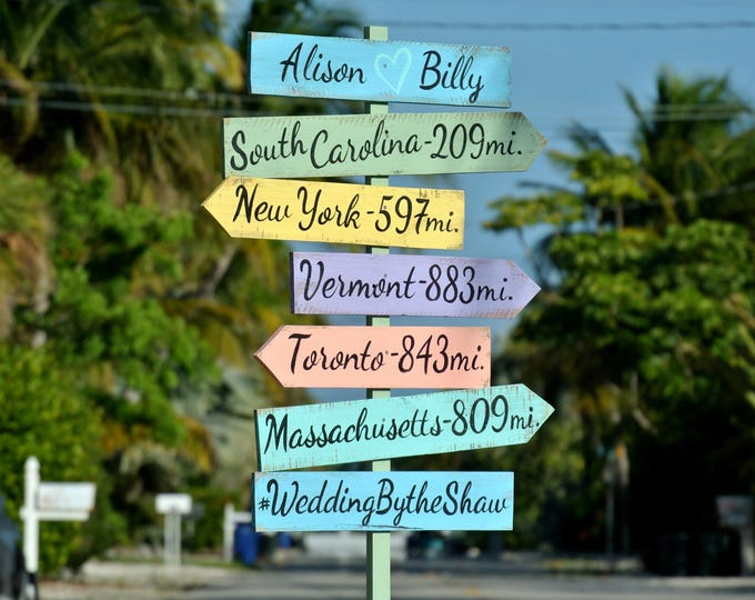 Wedding Gift for Couple, Directional Beach Sign Wood, Wedding Ceremony Decoration, Wooden Signage for Wedding gift idea, Wood yard decor