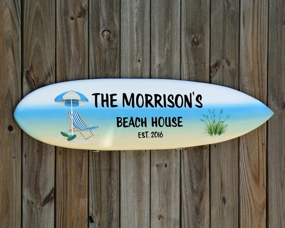 Beach House Decor Welcome sign. Surfboard wall art. Wood sign for Outdoor decor. Gift for Dad