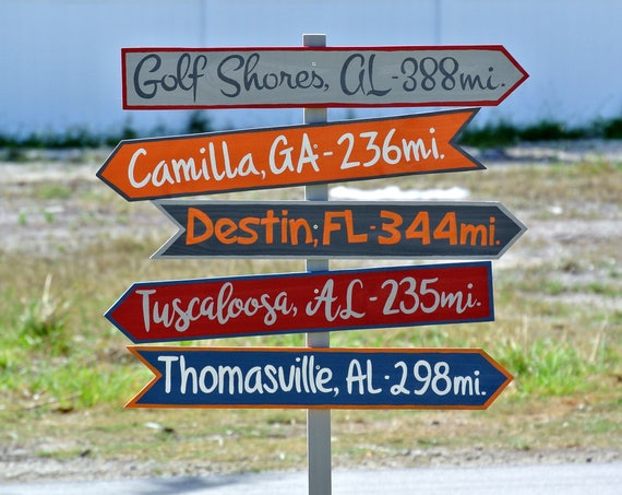 Family sign, Directional Wood Garden Decor, Destination Location Mileage Rustic Sign, Unique gift idea, Yard decoration