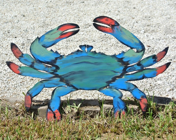 Tiki Bar Large Blue Crab Decor, Rustic Wood Crab Wall Art, Family Gift idea, Beach house decor