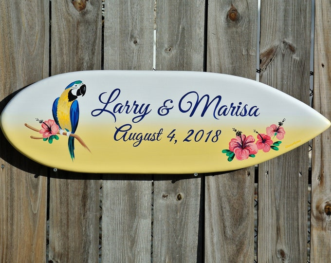 Beach Wedding Sign. Parrot Wedding Wood Gift for Couple. Surfboard Decor