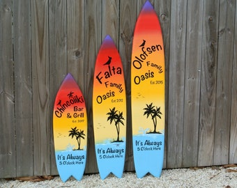 Bar and grill Family Oasis wooden surfboard decor. Beach house sign, It Always 5 O'clock here. Gift for new home