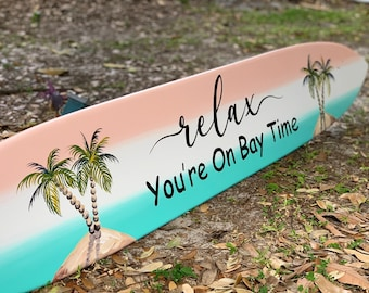 Relax sign wood sign. Pool deck decor. Surfboard wall art. Backyard bar and grill sign wood. Custom writing