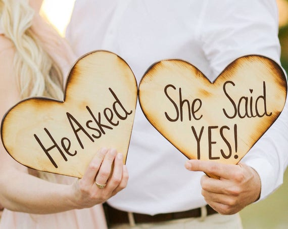 He asked She said Yes engagement wood sign. Gift photo props, Wooden heart sign