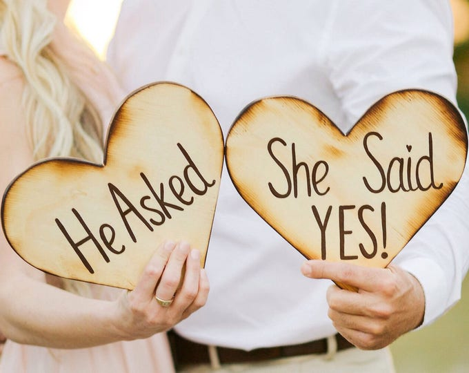 Personalized sign He asked She said Yes engagement Valentine's Day gift photo props, Wooden heart sign
