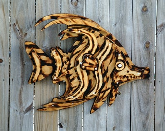 "Burned 3D Wood fish decor 28""x23"" Tiki bar wood fish wall art.  Tropical fish decoration. Pool Deck Sign."
