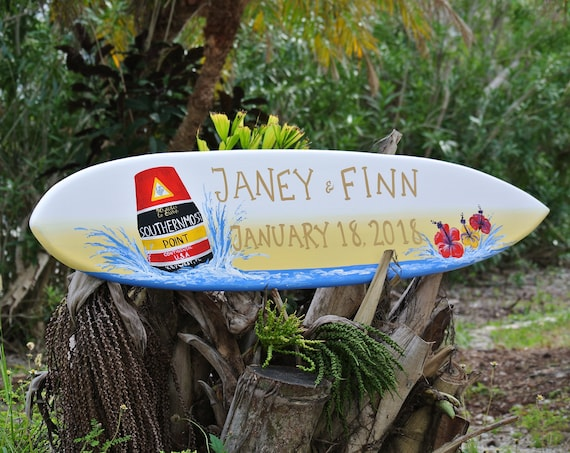 Christmas Just Married Surfboard Wedding Decor Wood Sign, Hibiscus Tropical Wedding Wooden Gift for Couple